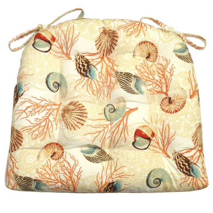 Shell Dance Multi dining chair pads feature realistically portrayed sea shells and coral on an ivory background. -Perfect for a beach house, or any room with a coastal style decor! #seashell #rainbow