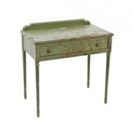 "all original c. 1930's american industrial ""simmons"" furniture sheet steel four-legged stationary desk with old green paint finish"