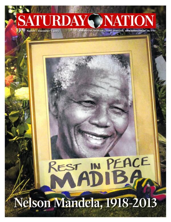 December 7, 2013 front page of Kenya's newspaper Daily Nation in memory of Nelson Mandela, who died on December 5, 2013