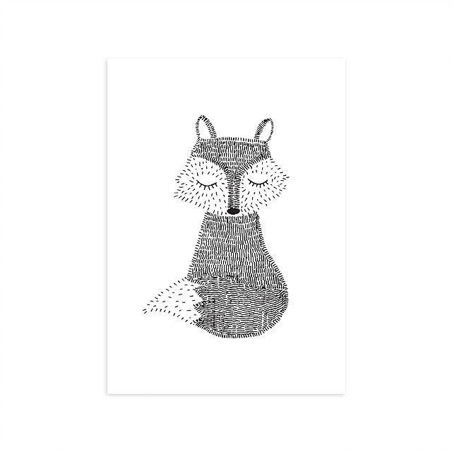 Poster Vos Deze poster met vosje is gedrukt op luxe structuurpapier van dikke kwaliteit. Daarom is de poster niet alleen mooi in een lijst, maar ook om met een leuk plakkertje op de muur te plakken! Illustratie: Mijksje Ook verkrijgbaar als ansichtkaart.