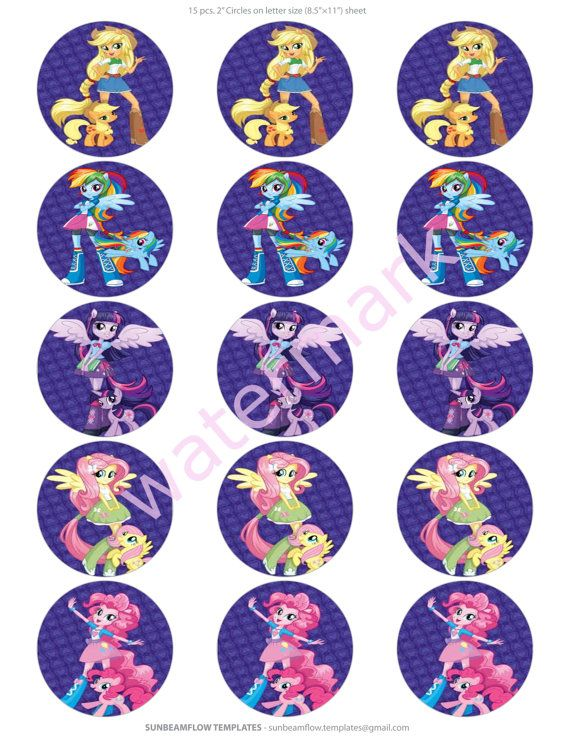 My+little+pony+Equestria+Girls+2+cupcake+toppers+by+Beautifullbows,+$2.00
