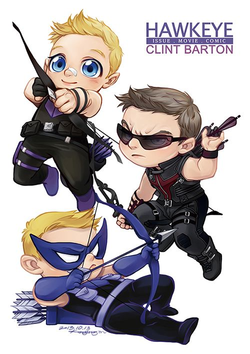 kingbirdkathy:  ajin-r:  HAWKEYE (CLINT BARTON) baby versions. [ ISSUE . MOVIE . COMIC ]   ♥♥♥