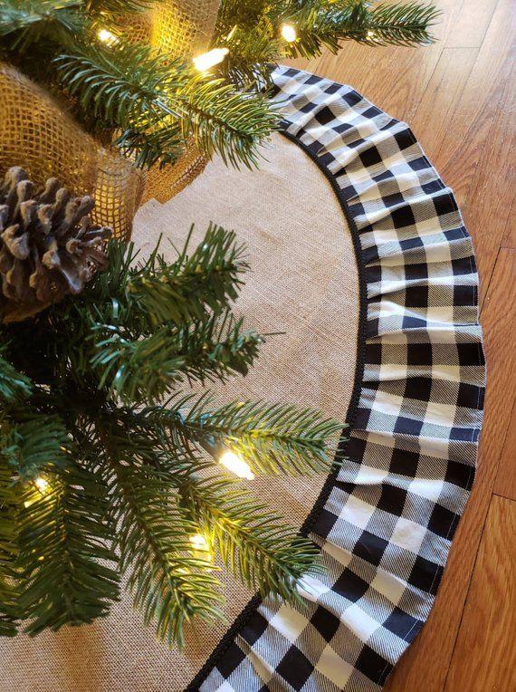 Buffalo Plaid Tree Skirt Christmas Tree Skirt Burlap Tree Etsy Plaid Christmas Decor Diy Christmas Tree Farmhouse Christmas Decor