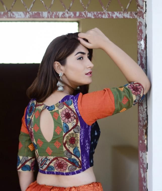 Buy A Fusion of Traditions by Svasa Hand-painted Kalamkari Ikat blouses with zari borders and embroidery Online at Jaypore.com