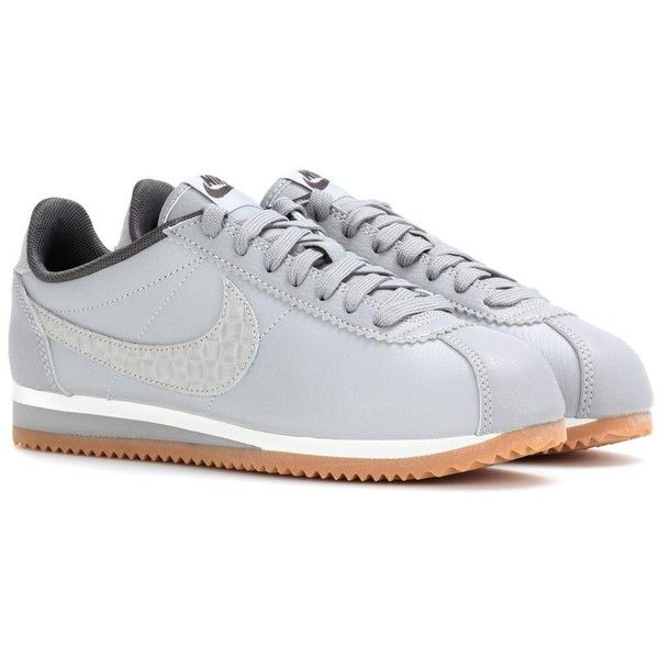 Nike Nike Classic Cortez Leather Sneakers (€98) ❤ liked on Polyvore featuring shoes, sneakers, grey, gray sneakers, real leather shoes, nike, nike sneakers and nike trainers