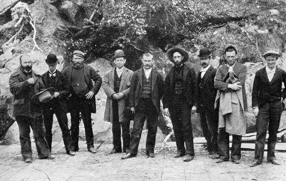 """Also in Skagway to profit from the Klondike gold rush were Jefferson """"Soapy"""" Smith (4th from the right), and his gang of crooks.    Smith was a native Georgian who went west and made his bad name in Denver and Creede, Colorado, before heading north at the start of the gold rush."""