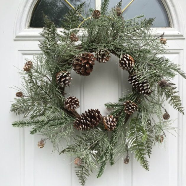 Wreaths For Door - Wispy Frosted Fern and Pine Cone Winter Wreath 22 Inches Handmade With Lightly Flocked Artificial Greens And Pine Cones Hang For The Winter Holiday Season, $62.99 (http://www.wreathsfordoor.com/wispy-frosted-fern-and-pine-cone-winter-wreath-22-inches-handmade-with-lightly-flocked-artificial-greens-and-pine-cones-hang-for-the-winter-holiday-season/)