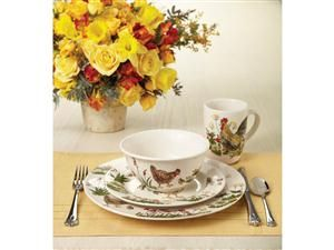 Paula Deen Southern Rooster 16 Pc Dinnerware Set Rooster Kitchen Decorrooster