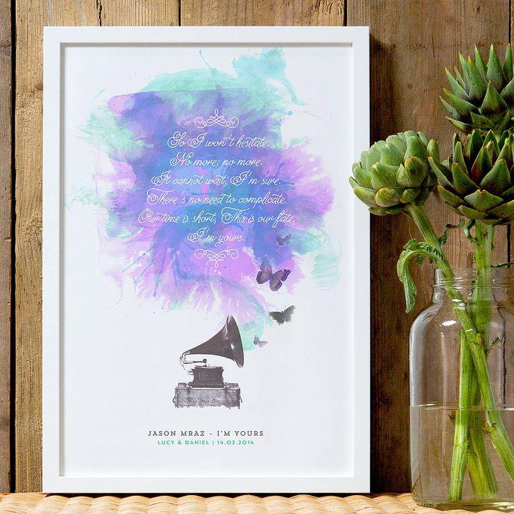 personalised song lyrics print by the drifting bear co. | notonthehighstreet.com