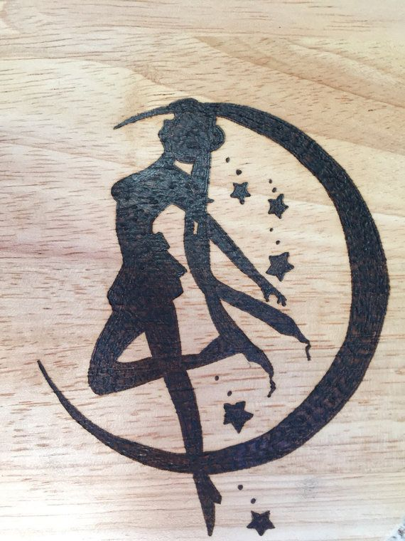 Large hand burned sailor moon pyrography by FrodoInWonderland