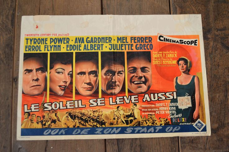 Vintage original Belgian Film poster 20th Century Fox. Film art. Le Soleil se Leve Aussi. 1957. Starring Ava Gardner and Errol Flynn. by BlueDogEmporiumStore on Etsy