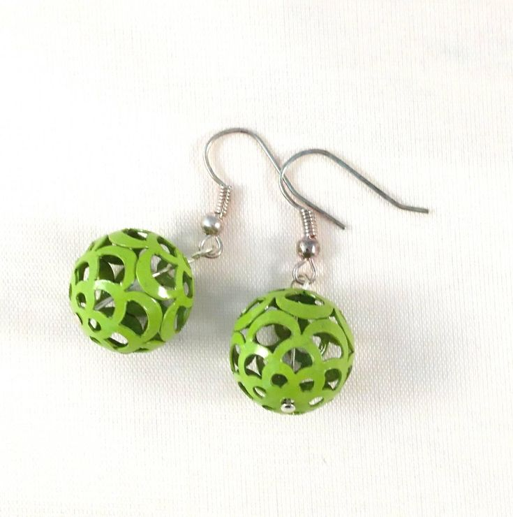 Excited to share the latest addition to my #etsy shop: Handmade Beaded Earrings. Silver Plated, Dangle, Hook, Lime Green Jewellery. Gifts for Her, Organza Gift Bag. Unique, One of a Kind. http://etsy.me/2H0QWVy