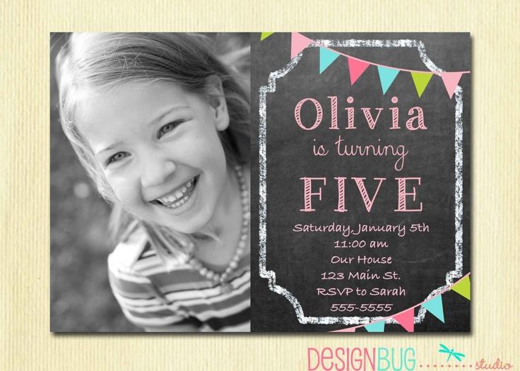 Birthday Girl Invitation - Custom Chalkboard Bunting Photo Invitation -  Printable 1, 2, 3, 4, 5 year old Birthday Invite. $12.00, via Etsy.