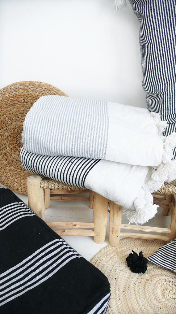 Moroccan Blanket POM POM Cotton Black stripes