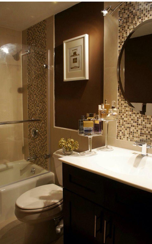 Brown bathroom decorations - Perfume Bottle Staging Brown Bathroom