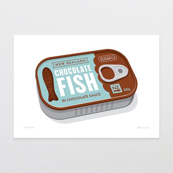 Canned Fish - Art Print by Glenn Jones Art - art to make you smile. Available in a range of sizes. Click image to buy online. www.glennjonesart.com
