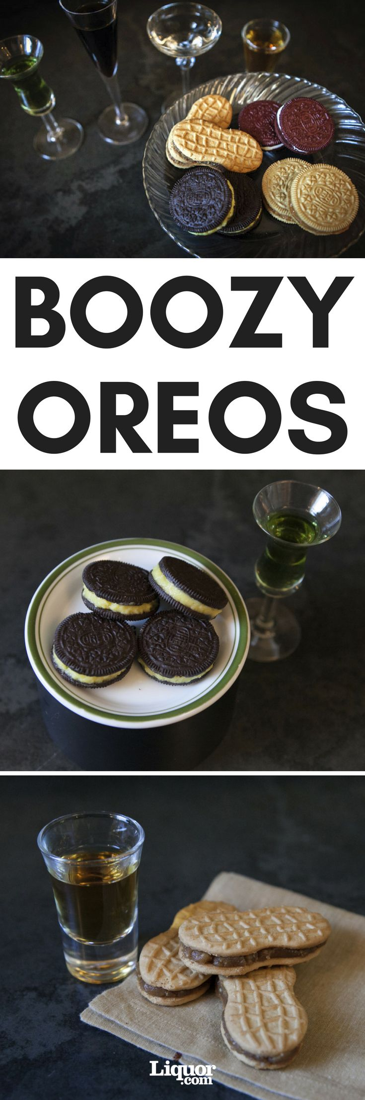 Upgrade Your Oreos With Boozy Fillings!  They're fun and sweet and boozy—great for parties, the cookie equivalent of Jell-O Shots. Crazy Chartreuse Oreos, Sinful Cinnamon Bu Oreos, Boozy Red Velvet Cake Oreos and and Naughty Nutter Butters complete the list of sweet alcoholic treats.