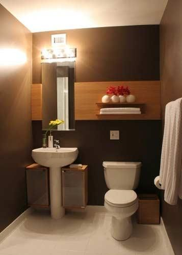 Bathroom Sink, Brown And Elegant Bathroom With White Pedestal Sink For Small Bathroom That Look So Beautiful And Elegant And Storage And Shelf With Bright Lighting And Mirror ~ Some Designs Of Pedestal Sink For Small Bathroom That Has The Simple Design And Color Ideas