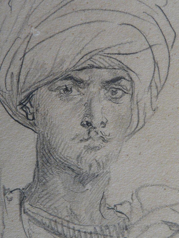 CHASSERIAU Théodore,1846 - Arabe coiffé d'un Turban, debout contre un Arbre - drawing - Détail 23