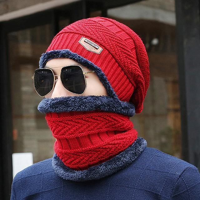 [Dexing]Neck warmer 2016 knit cap scarf cap two-piece Winter Hats For Men Caps Warm Moto Fur Winter Fleece Knit Hat balaclava