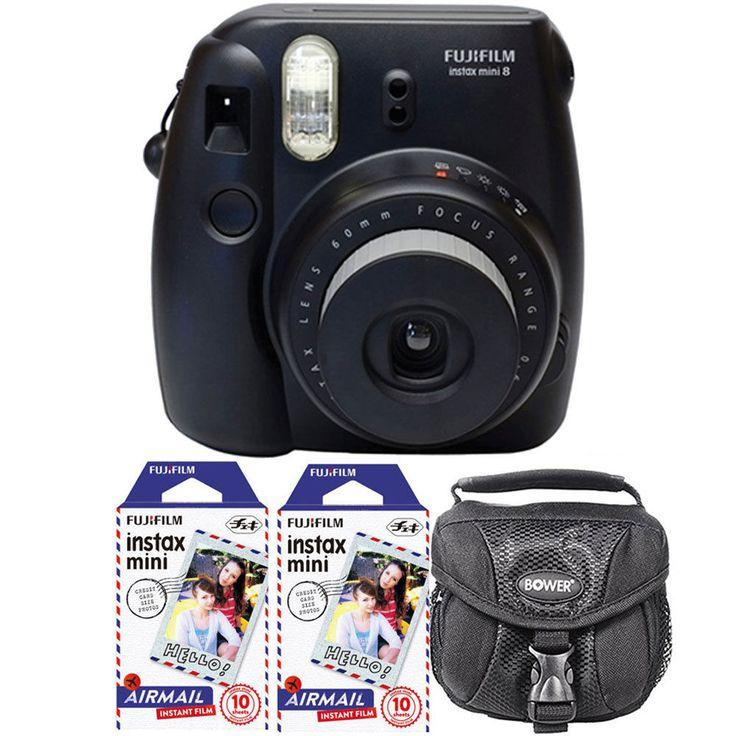 Fujifilm Instax Mini 8 Instant Film Camera Black + 20 Airmail Film + Accessories…