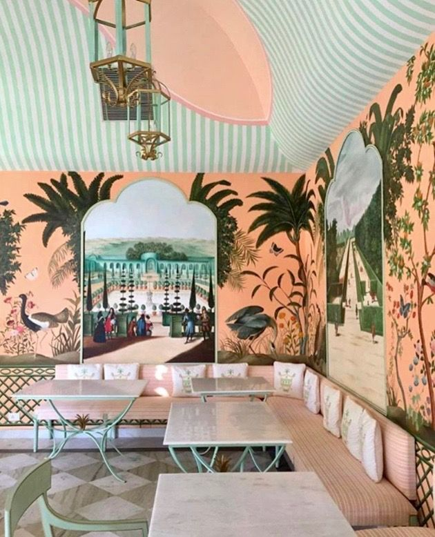 India continues to top my travel wish list and Jaipur's new Caffé Palladio has me more eager than ever to book a ticket. A sister property of the nearby (and equally chic) Bar Palladio, the new cafe serves mouth-watering cuisine in a whimsical peachy-pink setting. I would give my right arm to have those hand-painted murals (birds, blooms, and butterflies!) in my own …