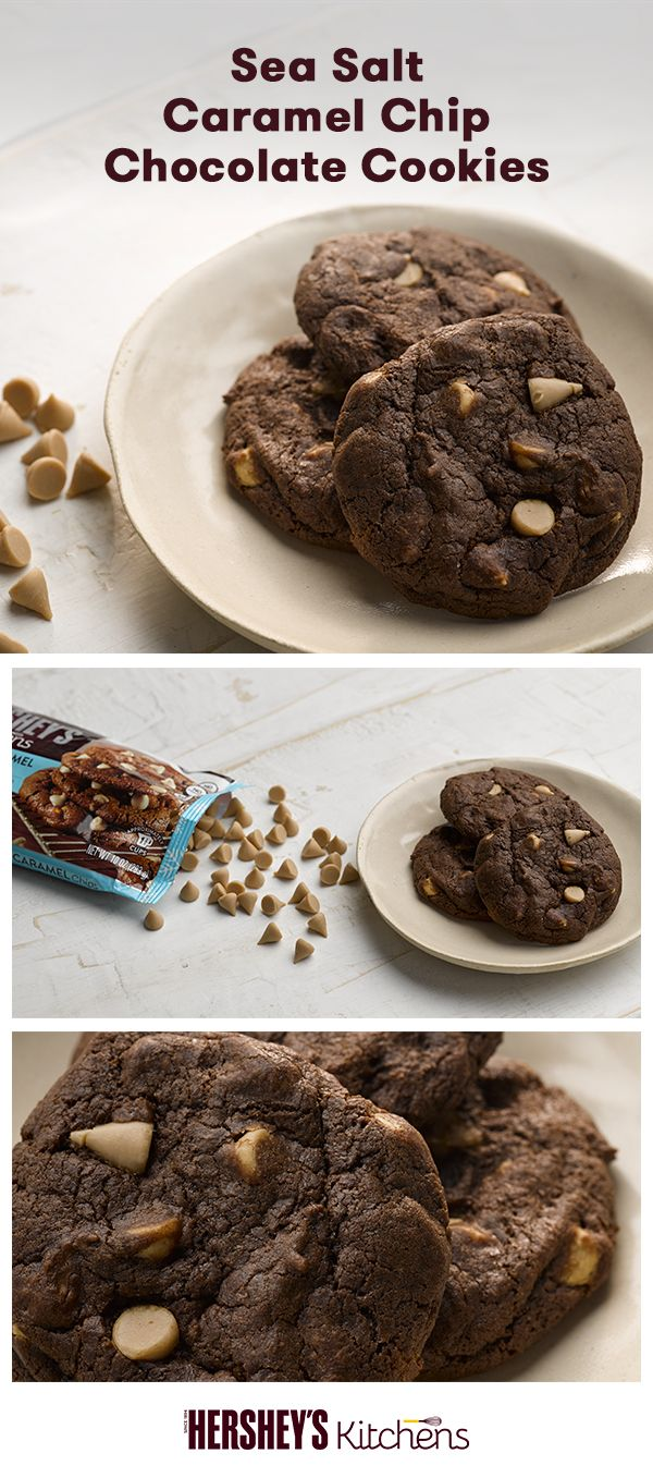 These Sea Salt Caramel Chip Chocolate Cookies are a salty and sweet twist on a classic. This easy recipe is made with HERSHEY'S Cocoa and HERSHEY'S Kitchens Sea Salt Caramel Flavored Baking Chips for a touch of extra flavor. Set these out on Christmas Eve or add them to your holiday cookie collection.