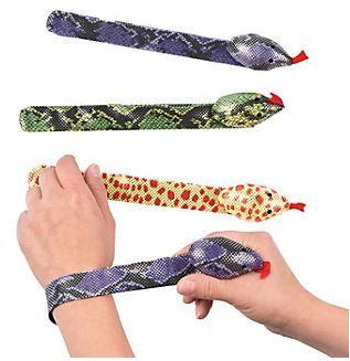 Fun Snake Slap Bracelets :   These bracelets are just the thing for all of your snake loving friends at your next birthday party! So popular & such fun. Great loot bag filler for any themed party.   assorted designs; Polyester. 2.54 cm x 24.1 cm