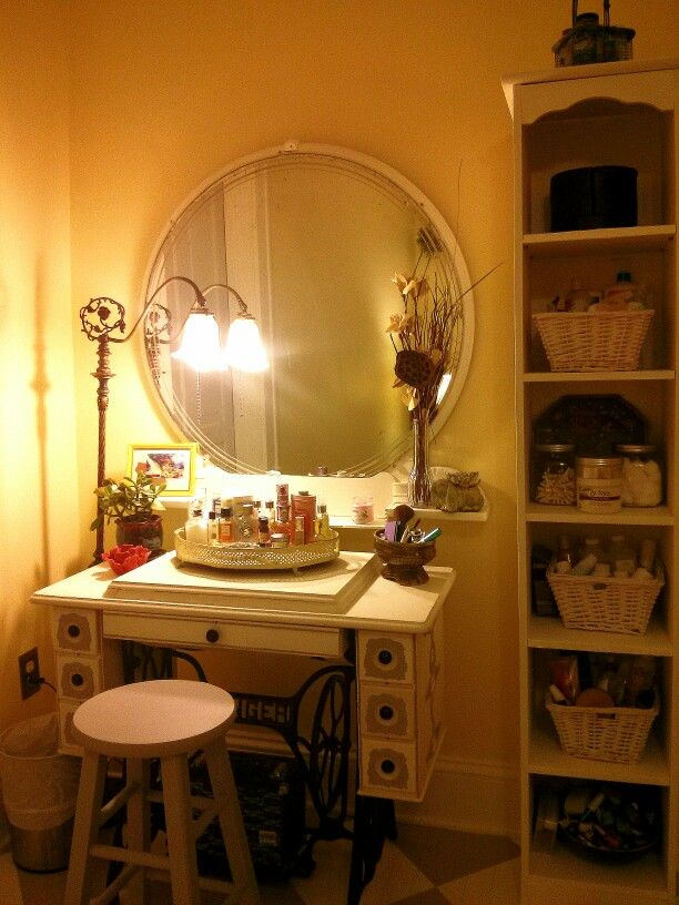 Sewing Machine Turned Vanity W Wall Shelf U0026 Mirror Above