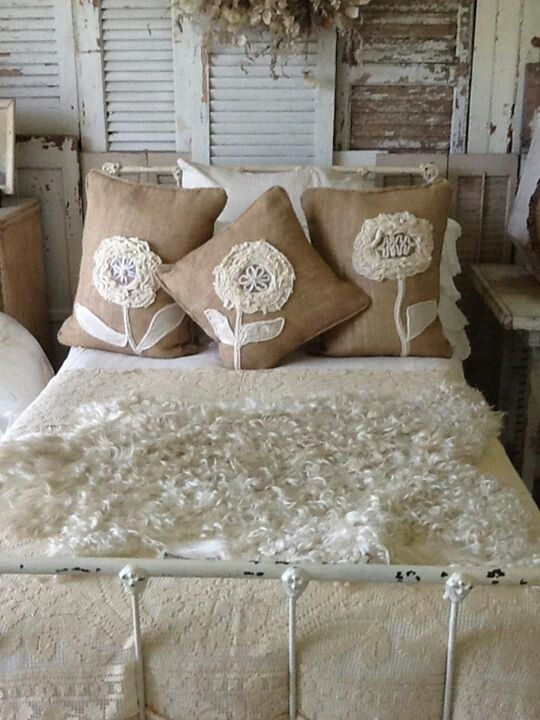 I love the neutral bedroom with shabby white and burlap for Burlap and lace bedroom