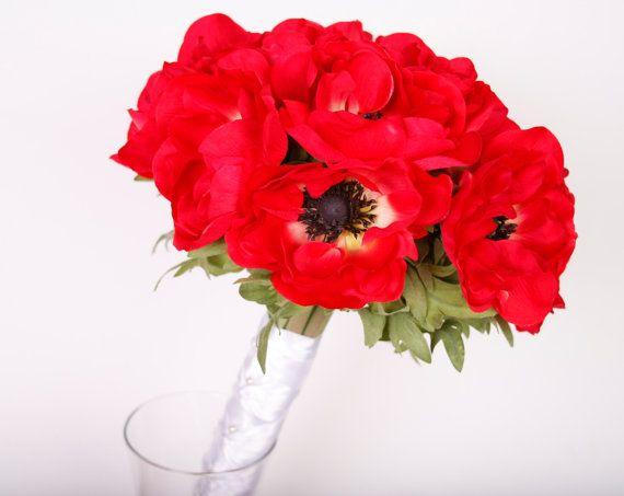 Fiore rosso papavero Wedding Bridal Bouquet con di LuxuriaBridal