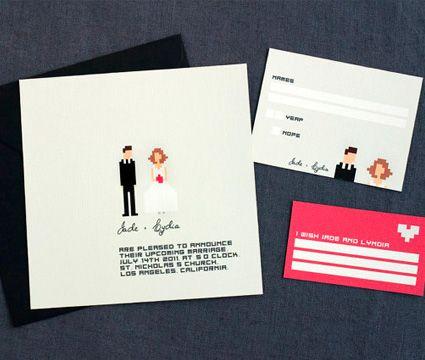 Invitación de Matrimonio con los Novios Pixelados -- Fotografía: Something Blue