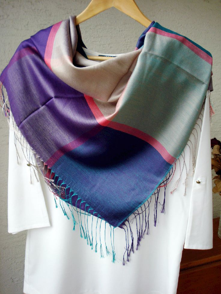 Multicolored Plaid Pashmina Scarf, Teal, Coral and Violet Scarf, Silky scarf, Fall- Spring scarf, infinity scarf, Gypsy Wrap, gift for her by fourseasonsscarf on Etsy