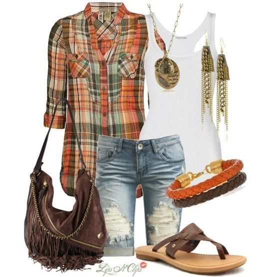 white tank with orange and brown plaid shirt and ripped denim capris and brown sandals with dark leather fringe bag; accessories: orange and brown braided leather bracelets and chain dangle earrings and copper disk necklace