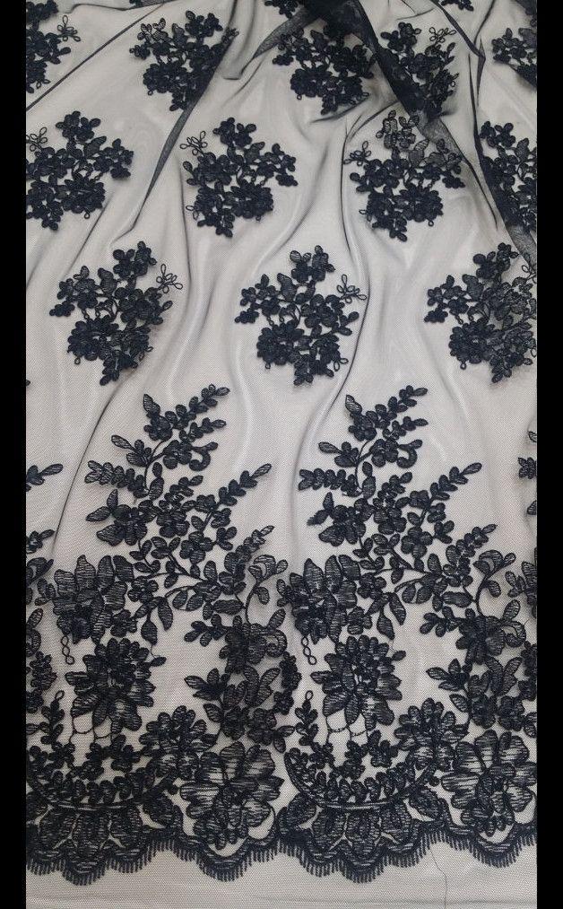 Spitze - Schwarze Spitze, Alencon spitze stoff, Französisch - ein Designerstück…