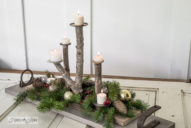 Branch candle Christmas centrepiece with junk tray via FunkyJunkInteriors.net