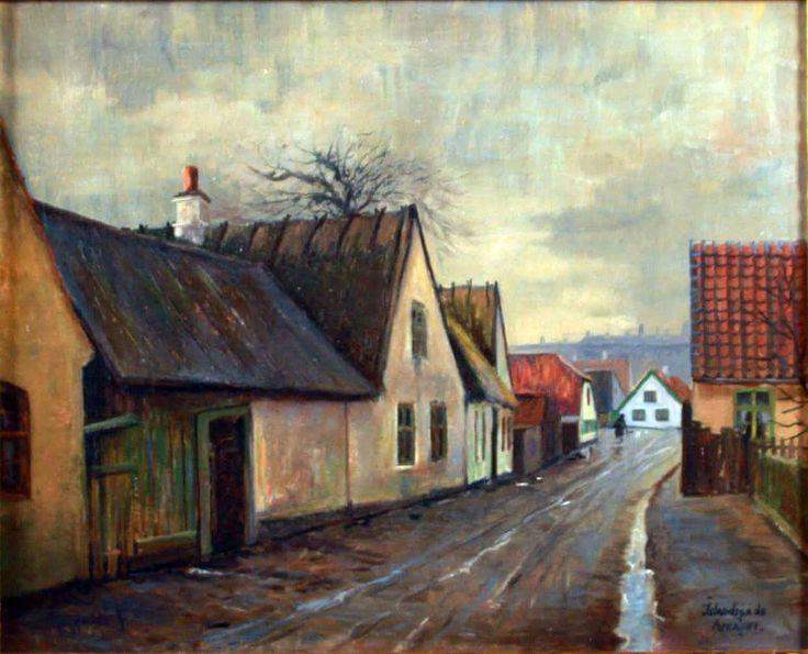 Islandsgade. Maleri af Axel Aabrink