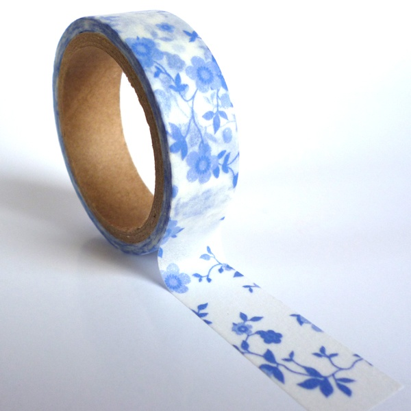 Delft Blue and White Flowers Washi Tape 15mm x 5m Roll WT0016 from Ruby & Dig #washi #washitape