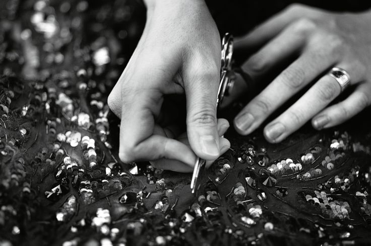 Tailors hands, backstage at the Atelier Versace fashion show. Photo by #RahiRezvani #AtelierVersace #VersaceLive