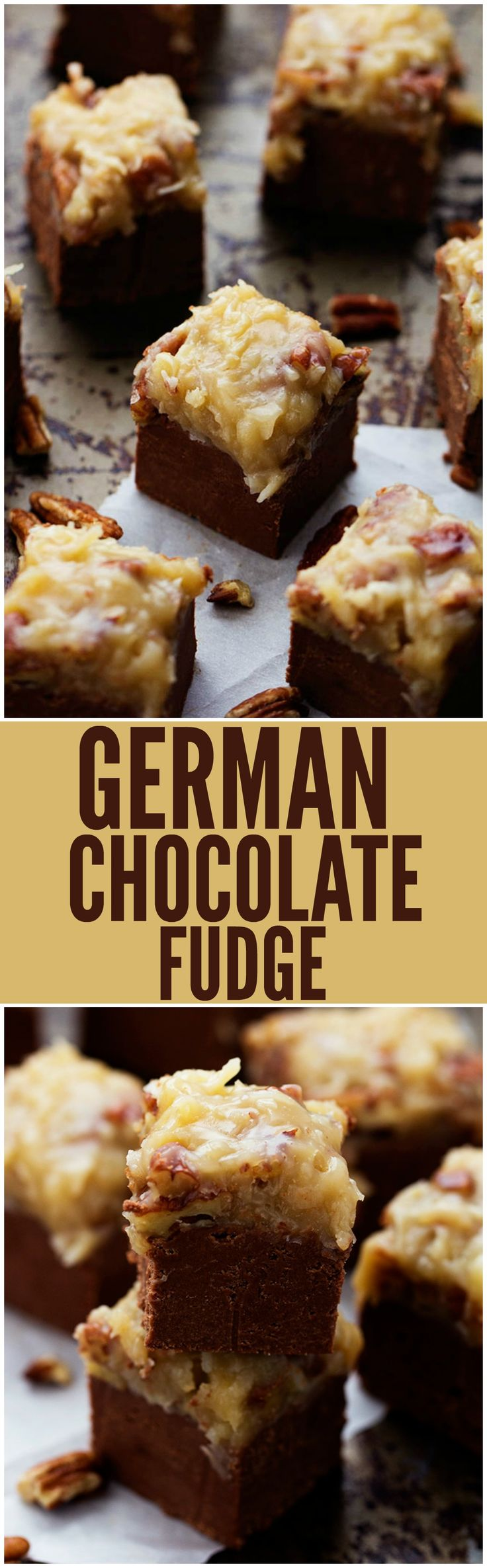 A quick and easy chocolate fudge that doesn't require a thermometer. Topped with the signature coconut pecan frosting, this fudge is out of this world!