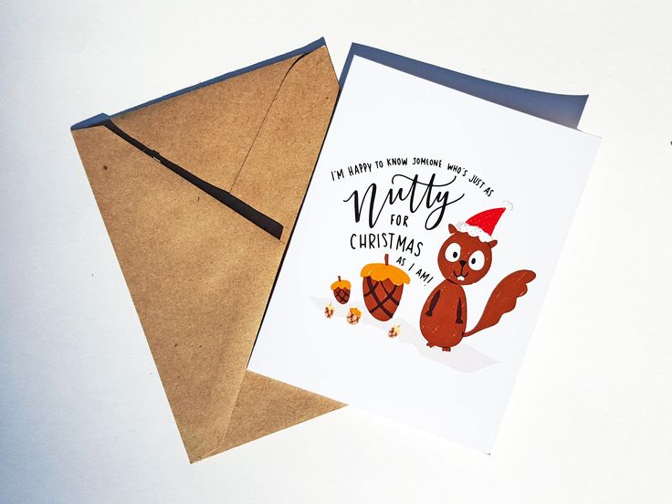 NUTTY FOR CHRISTMAS - Card - Christmas Card - Cute Simple Pun Funny Love Handmade - For Him/Her, Friend, Holiday Season, Greeting, Work by THEBRANCHANDTHEVINE on Etsy