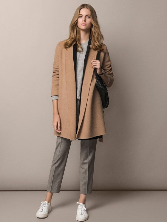 Woolen camel coat, gray T-shirt and trousers by Massimo Dutti 2015.