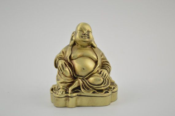Buddha statue / Bronze plated 3.1inches by CraftsAndMetal on Etsy