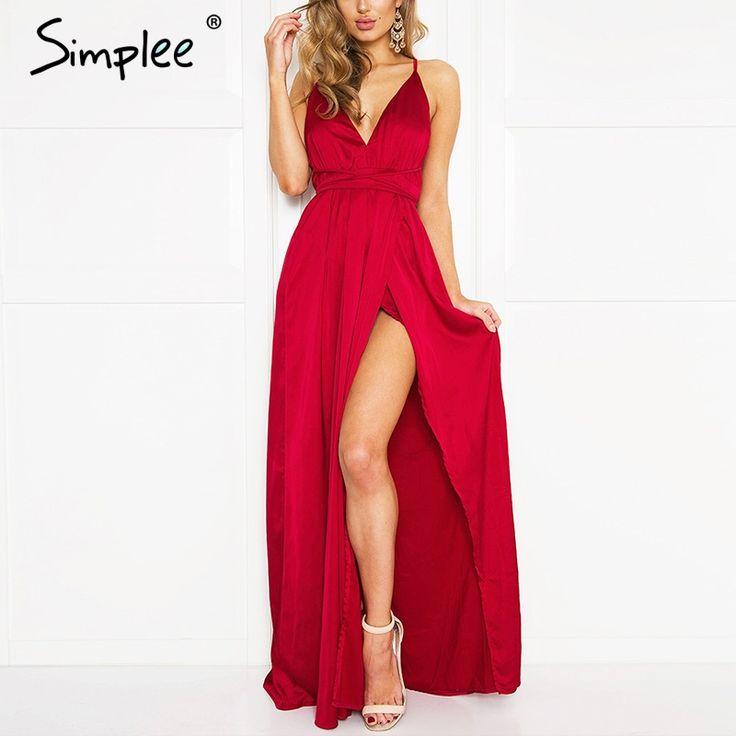 Simplee Слип атласная backless sexy длинные dress Женщины пижамы летние dress вечера Партии элегантный черный макси платья vestidos