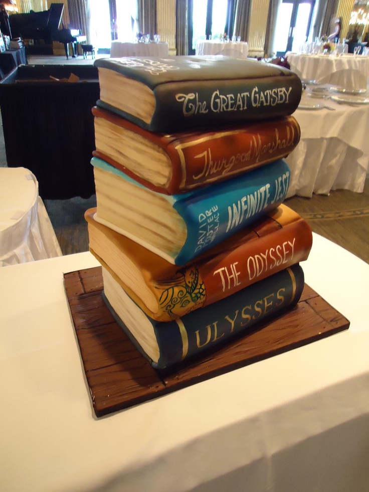 """TIER Luxury Cakes: this """"stacked book"""" cake was a surprise for the groom. His five favorite books, made into cake!"""
