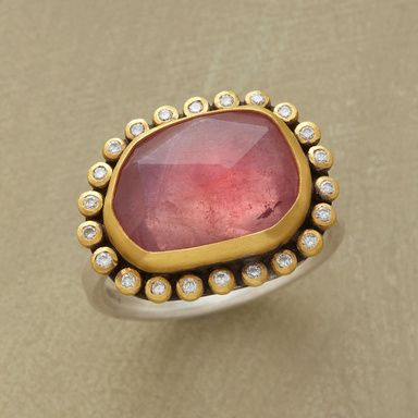 PINK COSMOS RING--Irregular facets span a luminous pink sapphire universe rimmed in matte 22kt gold and glistening with starry diamonds. Sterling silver backing and band. Handmade in USA by Ananda Khalsa.