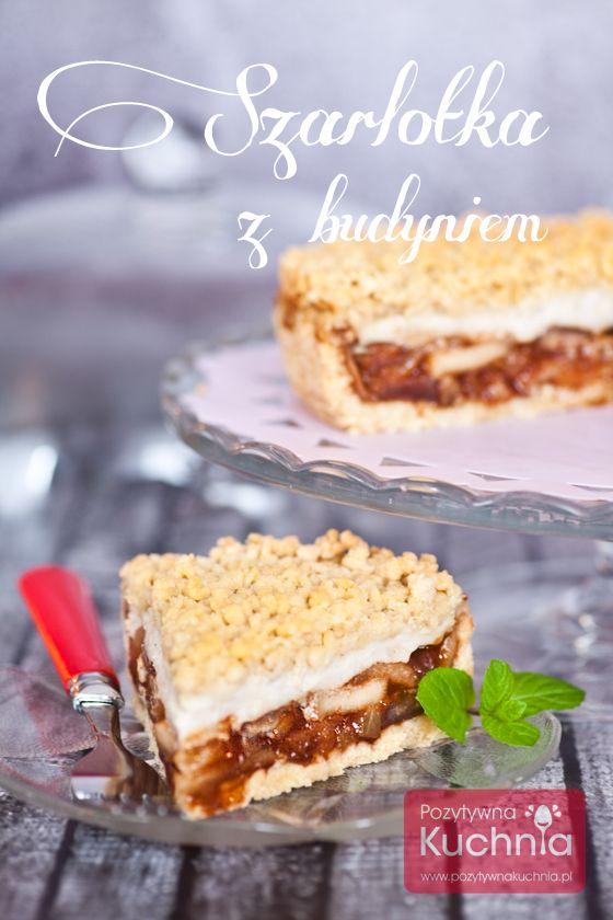 Szarlotka z budyniem, na kruchym cieście, pachnie cynamonem i wanilią.  http://pozytywnakuchnia.pl/szarlotka-z-budyniem/  #jabłka #ciasto #szarlotka #kuchnia #przepis