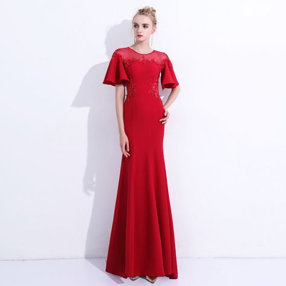 Chic / Beautiful Red Evening Dresses  2018 Trumpet / Mermaid Lace Appliques Beading Scoop Neck Backless Short Sleeve Floor-Length / Long Formal Dresses