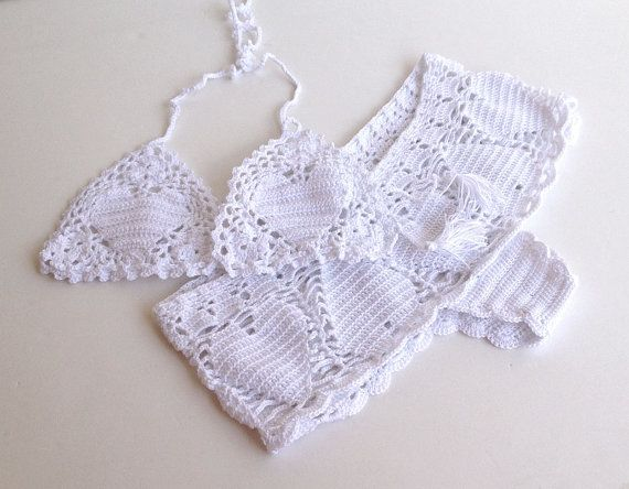 white crochet shorts heart lace crochet bikini by senoAccessory  #bikini #swimsuit