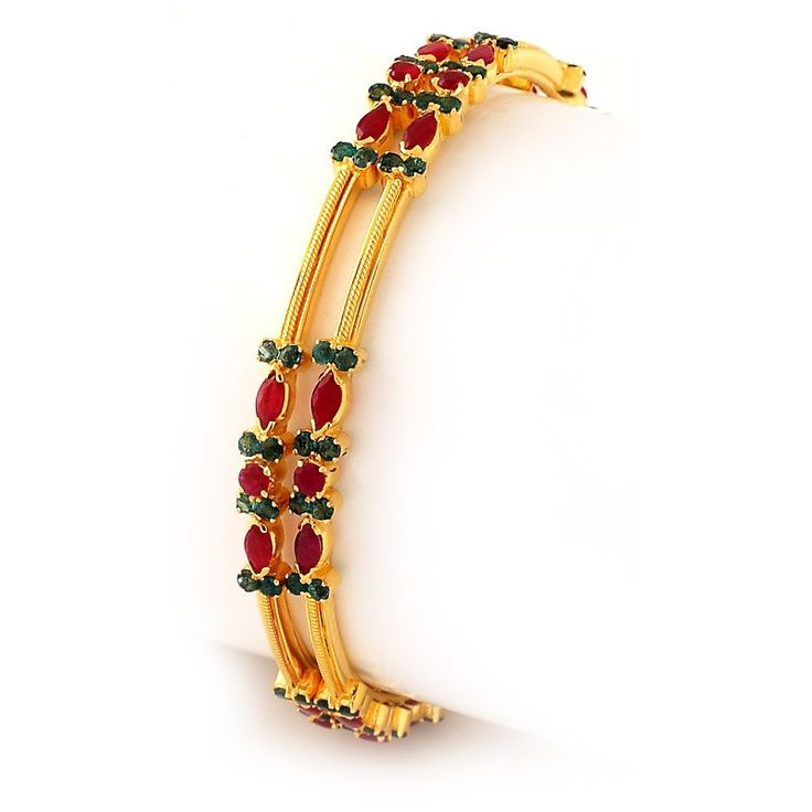 Emerald | Fire and Earth Ruby & Emerald Bangles | GRT Jewellers